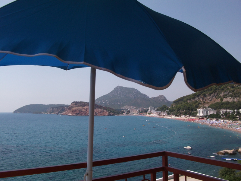 Sea view from the balcony which is in front of the bed room. Picture is taken in month of August (high season)