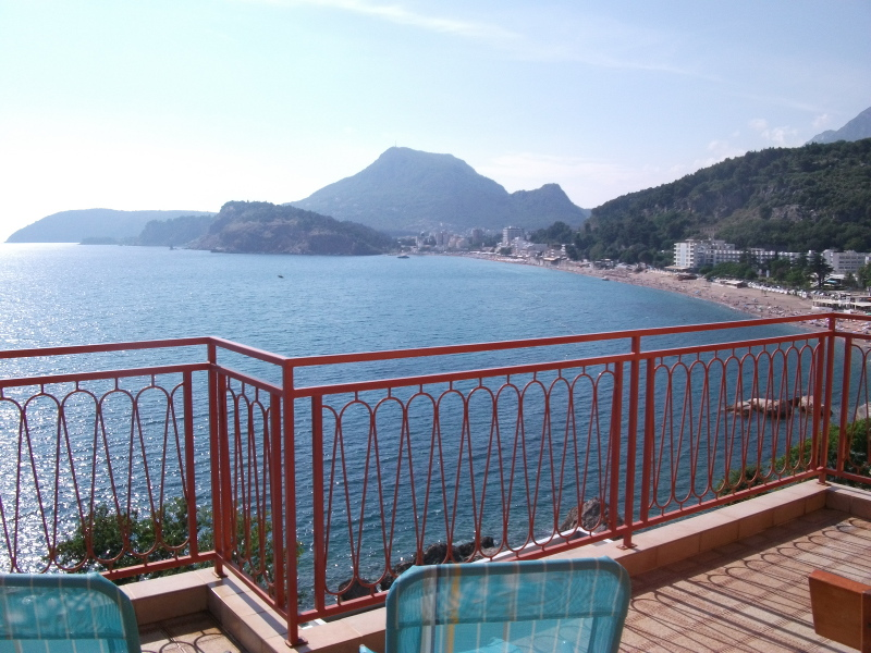 Terrace of the apartment number 3 with the bay of Sutomore in front. Picture is taken during the pre-season (May/June).