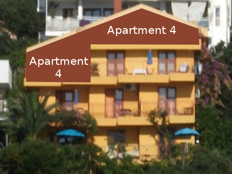 The apartment number 4 is located on the second and third floor of the apartment house.