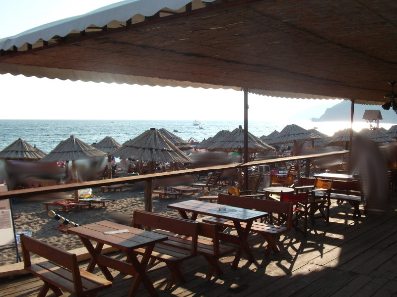 Another beach bar among the 1.2km long sandy beach of Sutomore. Picture is taken in the month of July.